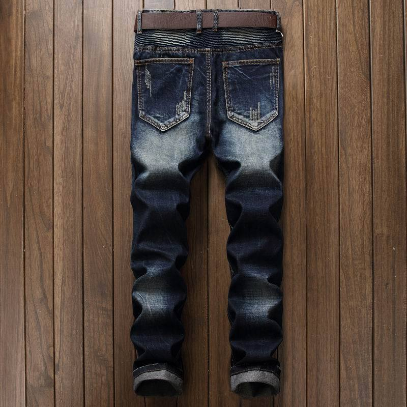 Newsosoo Fashion Men\`s Ripped Pleated Biker Jeans Pants Washed Slim Fit Denim Motorcycle Denim Trousers Straight For Male (9)