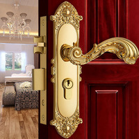 Europen Fashion Brass Golden Interior Solid Wood Panel Handle Lock Rose Golden Bedroom Bookroom Kitchen Wooden Door Lock Modern