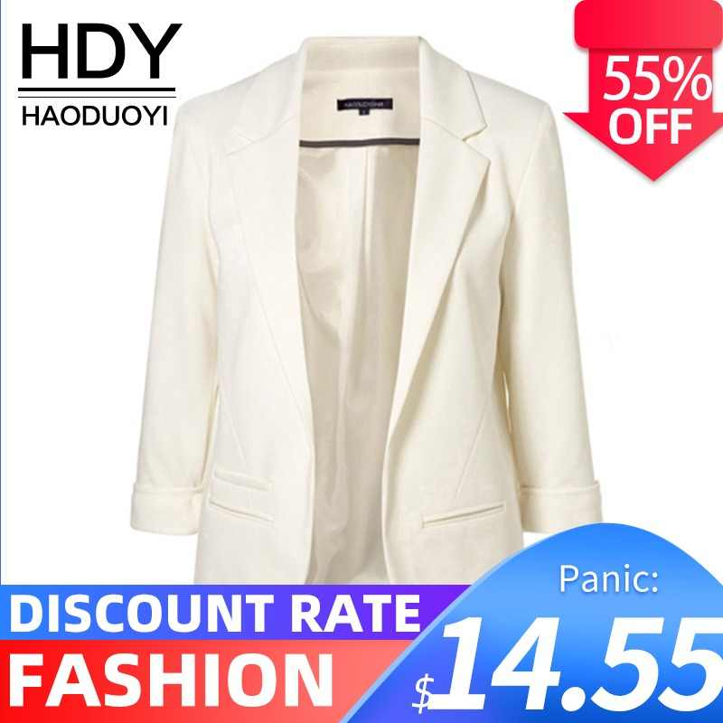 HDY Haoduoyi 2019 Spring Autumn Slim Fit Women Formal Jackets Office Work Open Front Notched Ladies Blazer Coat Hot Sale Fashion