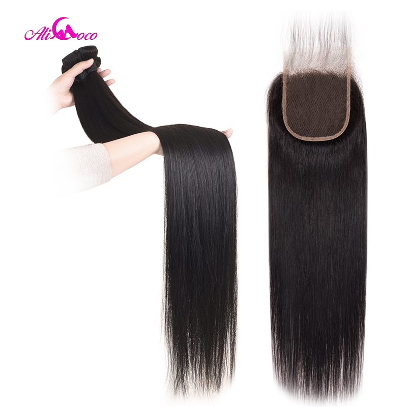 Ali Coco Indian Straight Hair Bundles With Closure 30inch 32 34 36 38 Middle Ratio Long Human Hair Bundles With Closure Non-Remy