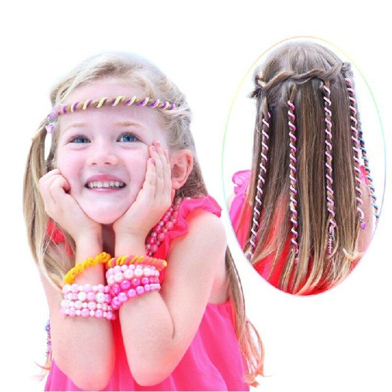 Balleenshiny 6pcs Baby Girls Colorful Curler Hair Braid Headwear Set Child Kids Princess Hair Accessories Twist Braids Hair Tool Accessories