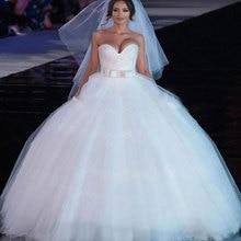 XINGFUYANG Sleeveless Matrimonio Bridal Dresses 2017 Satin Bow Belt Beaded Upper Hijab Cheap Wedding Dresses Made In China