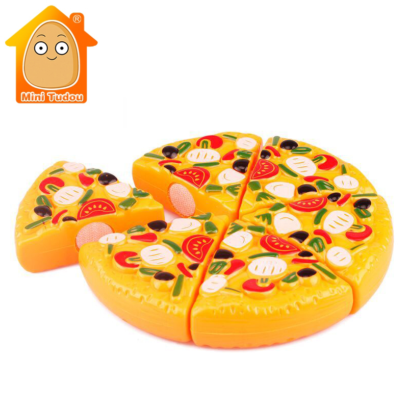 Minitudou Plastic Miniature Food Cut Vegetables Toy Pizza Kid's Pretend Play Educational Kitchen Toys For Girls And Boys