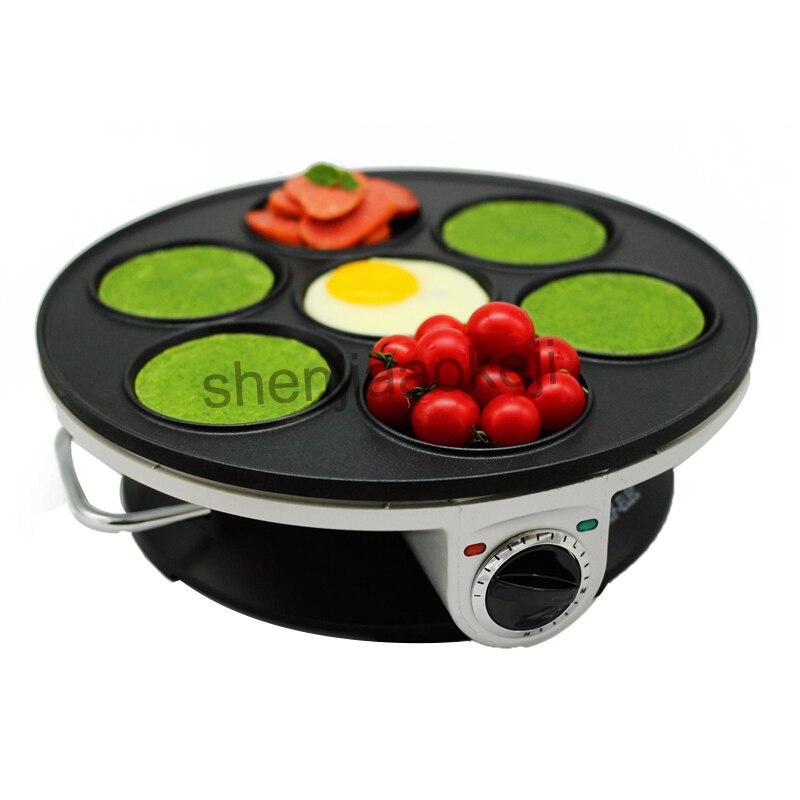 все цены на Multifunction Home Crepe Maker Non-stick Pancake Machine Breakfast Machine Electric baking pan machine 7-hole pancake machine онлайн