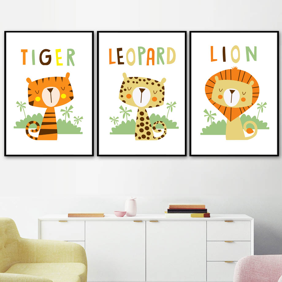 Baby Lion Tiger Leopard Wall Art Canvas Painting Cartoon Nordic Posters And Prints Wall Pictures For Girl Boy Kids Room Decor in Painting Calligraphy from Home Garden