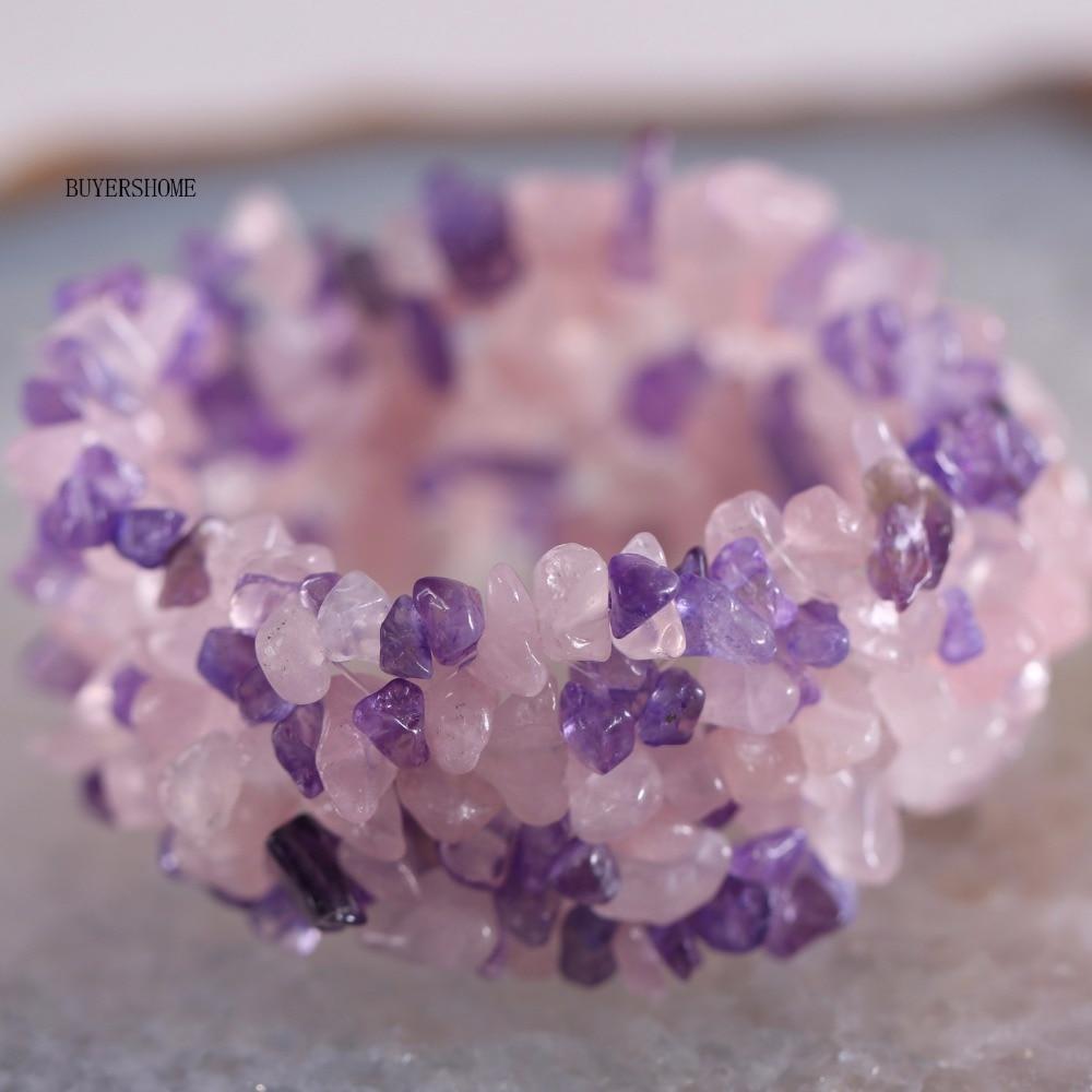 Free Shipping Fashion Jewelry Stretch Pink Purple Crystal Weave Chip Bracelet 7 1Pcs H048