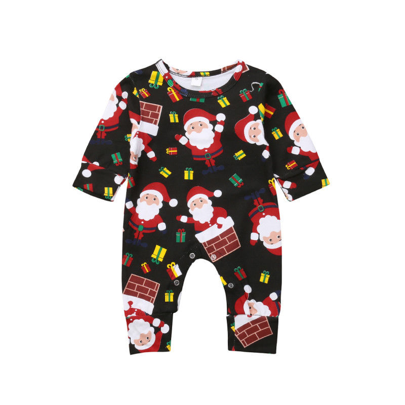 Lovely Christmas Romper Newborn Baby Boy Girl Xmas Santa Claus Romper Long Sleeve Jumpsuit Playsuit Outfit Clothes 0-12M
