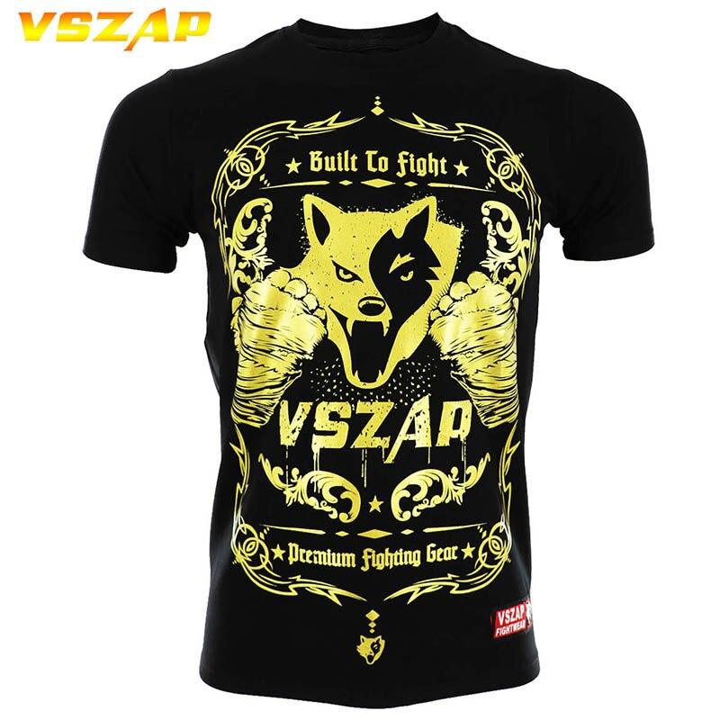 VSZAP Boxing T Shirt Men MMA Clothing Gym Tee Shirt Breathable Cotton Shorts Fight Muay Thai Thai Boxing Shorts MMA Kickboxing