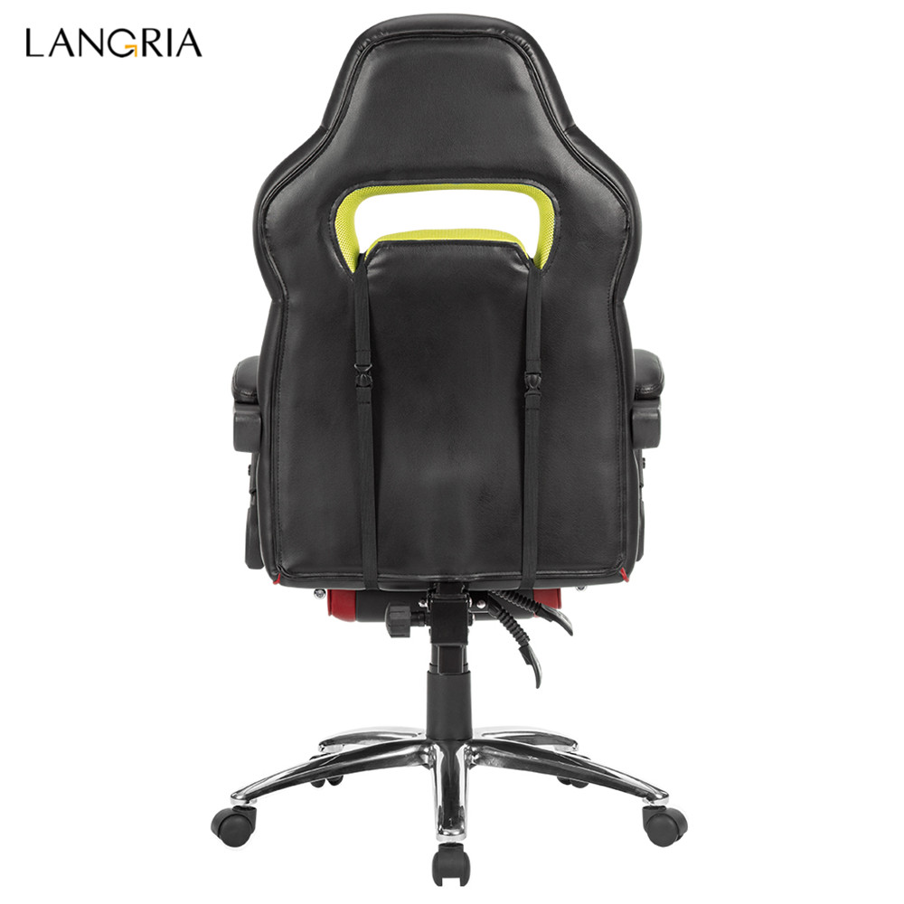 LANGRIA Ergonomic High-Back Faux Leather Racing Style Reclining Computer Gaming Executive Office Chair with Padded Footrest and Lumber Cushion07
