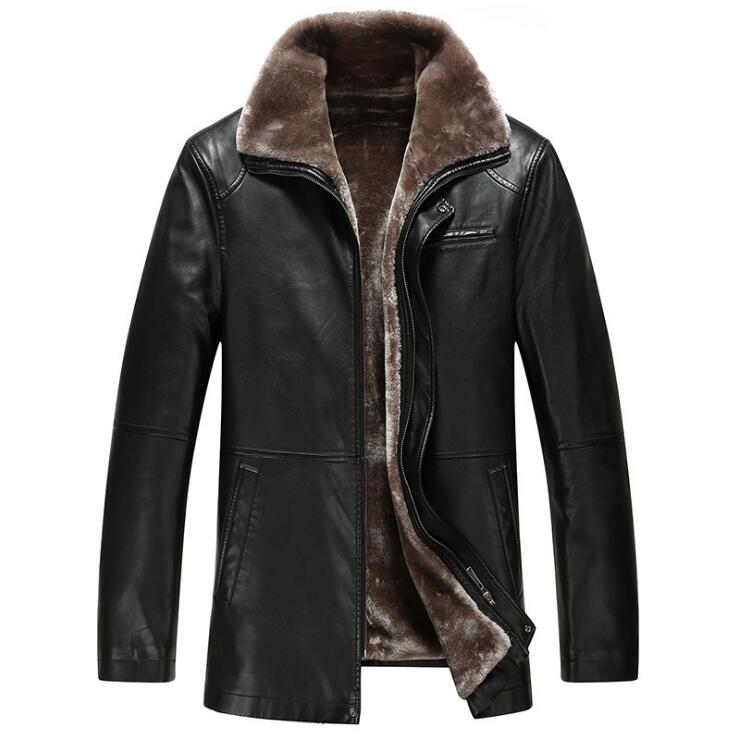 New Fashion Winter jackets Mens Leather Coat Fur one Coats Jacket Men Business Casual High quality PU Long-sleeve Outerwear