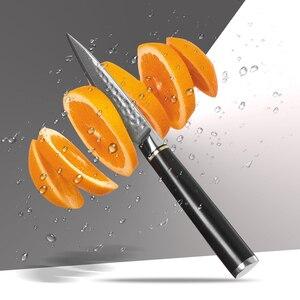 Image 3 - Hezhen 3.5 paring kitchen knives 일본 vg10 다마스커스 강철 고품질 슬라이스 필러 과일 야채 나이프 흑단 손잡이