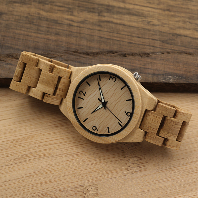 Hand Natural Bamboo Wood Watches Top Brand Luxury Watch with Japanese Movement For Gift