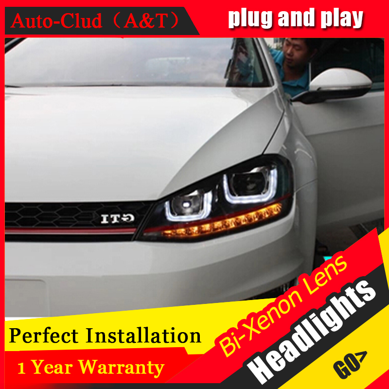 Auto Clud vw golf 7 headlights bi xenon lens LED Angel Eyes DRL vw golf mk7 head lamps car styling H7 xenon LED light guide electric car motorcycle 15w led headlights modification lens light 12 60v
