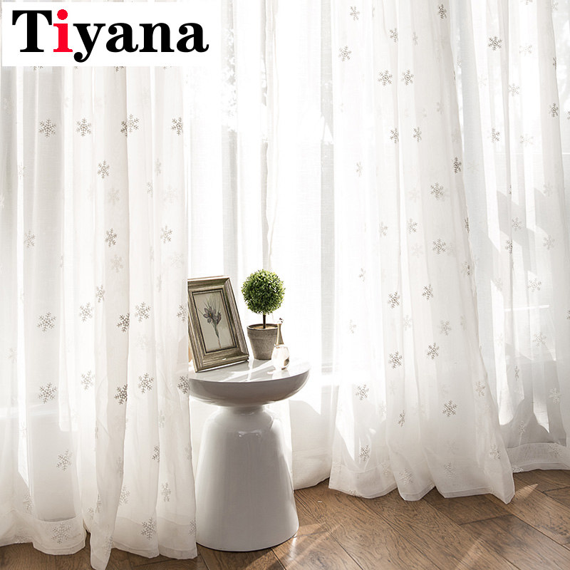 Tiyana White Snowflakes Curtains For Living Room Kitchen Window Door Decor Christmas Curtains Sheer Tulle Blinds Drapes P157D3