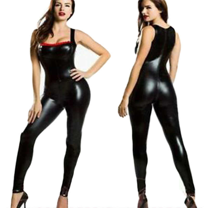 a242fc8a2c52 Sexy Bodycon Wetlook Vinyl Leather Women s Full Body Catsuits Overall  Jumpsuit For Women Black Halter Night