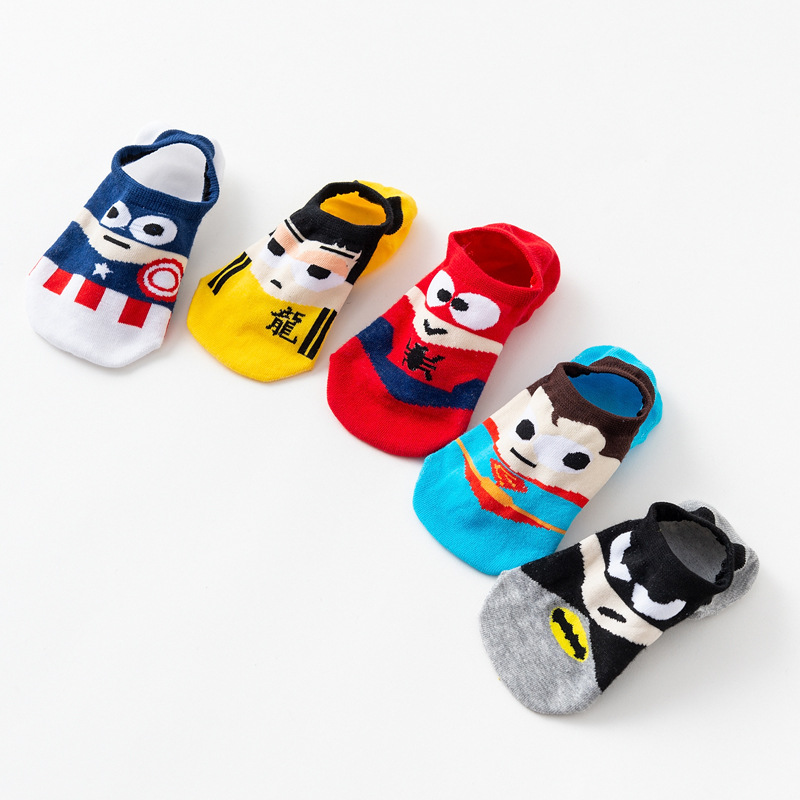 5 Pair/lot Men ankle   socks   Invisible low cut Non-slip Silicone boat   Socks   Cartoon Summer Short   Socks   Batman Superman SpiderMan