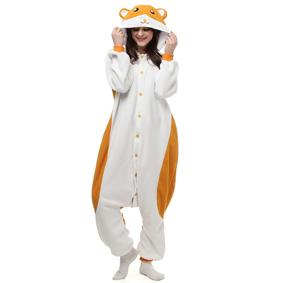 Anime Animal The Adventures of Hamtaro Pajamas Onesie For Adults Couple Women Unisex Sleepwear Hooded Fleece Pyjamas LTY41