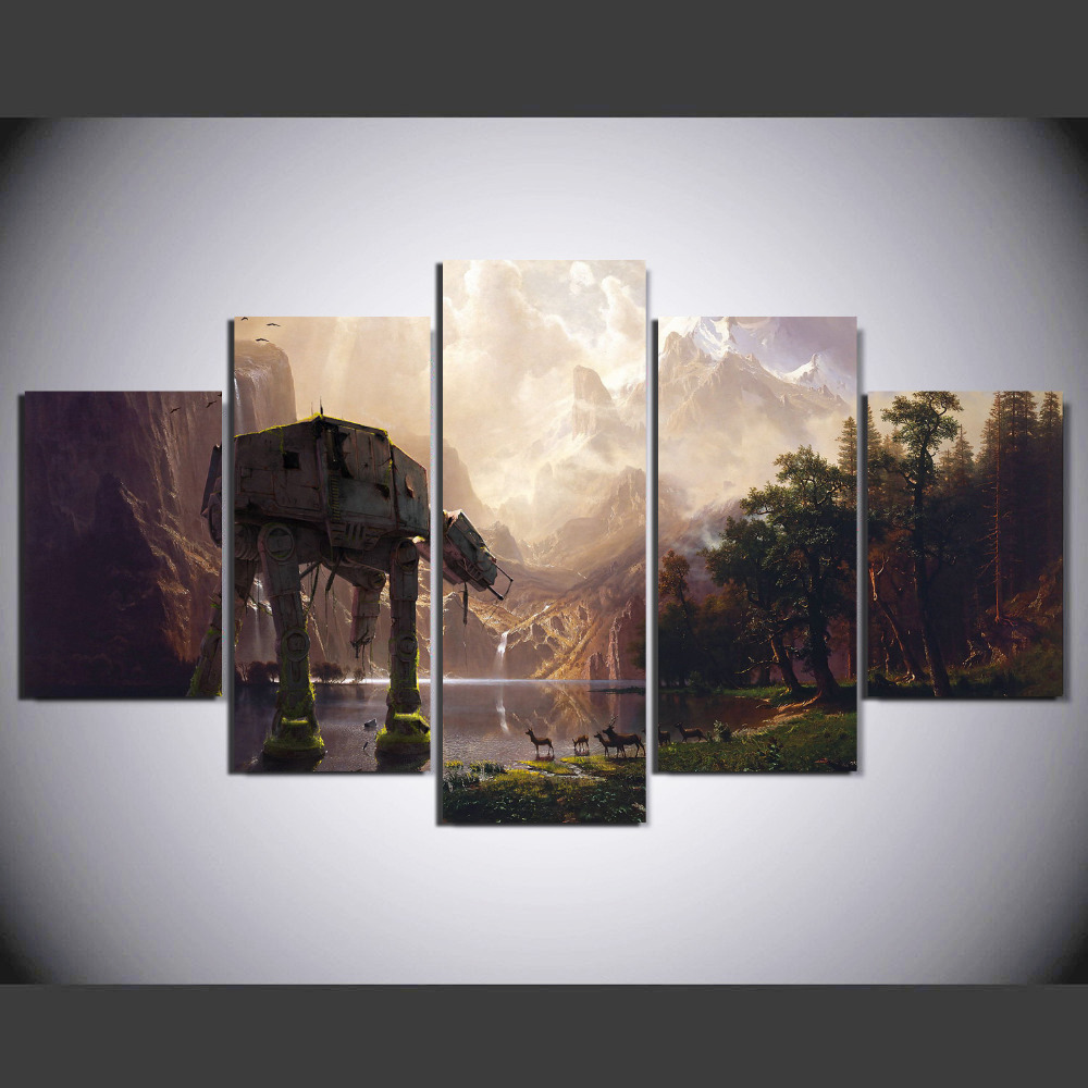 5 pieces star wars robot dog at at painting canvas wall for House decoration pieces