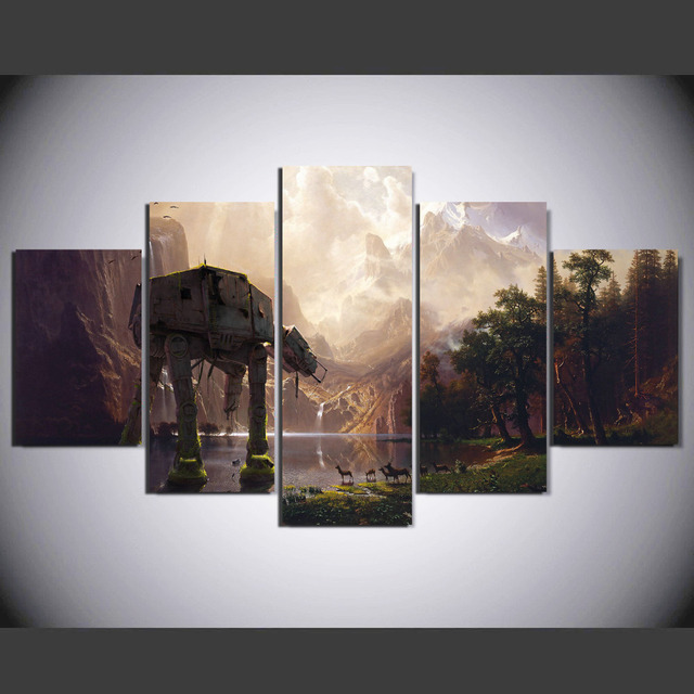 5 Pieces Star Wars Robot Dog At At Painting Canvas Wall Art Picture
