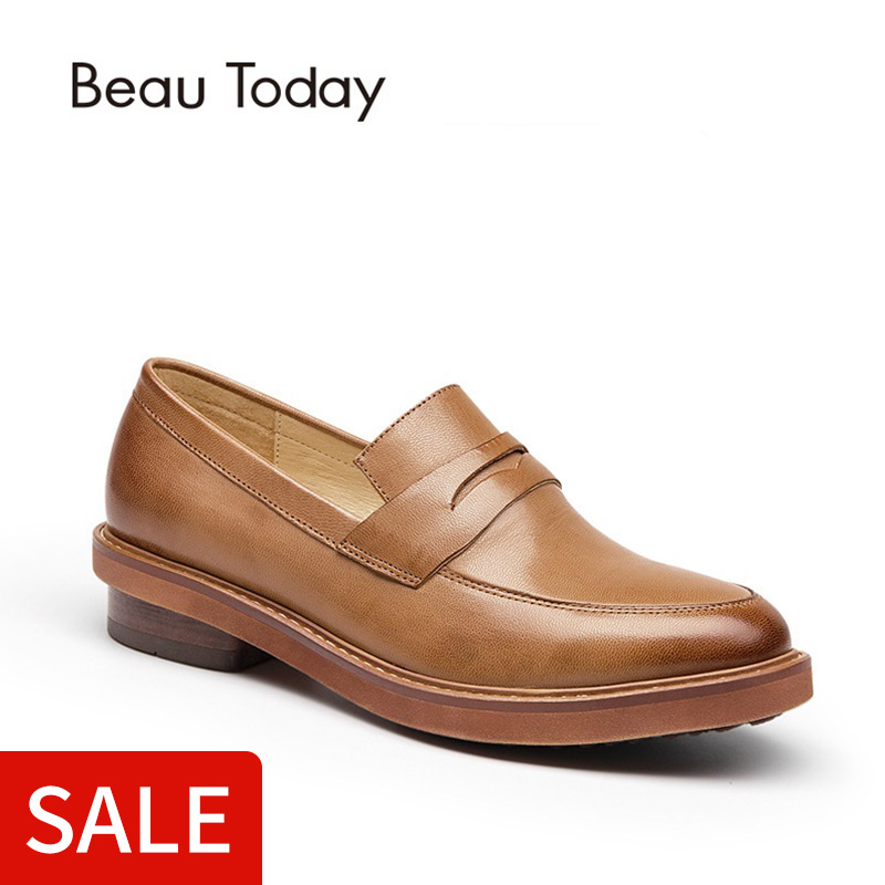 BeauToday Penny Loafers Women Fashion Slip On Shoes Genuine Leather Waxed Sheepskin Dress Casual Handmade Lady