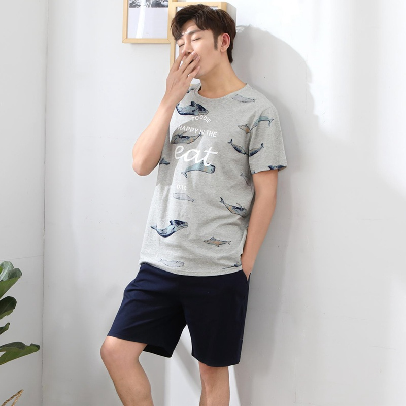 2019 Summer Short Sleeve Cotton Pajama Sets For Men Cute Cartoon Print Sleepwear Male Homewear Hombre Lounge Home Clothes