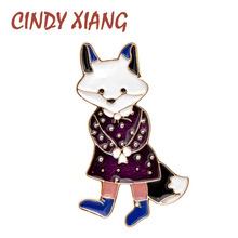 CINDY XIANG Enamel Lady Fox Brooches For Women Cute Cartoon Animal Pin T-shirt Bag Badges Fashion Jewelry Kids Good Gift Brooch