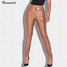 BEVENCCEL 2019 Full Length Sexy Pantalon Femme Ladies Bodycon PU Leather Pants Women
