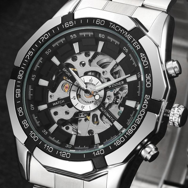 Mens Watches Top Brand Luxury Stainless Steel Skeleton Watch Automatic Mechanical Wristwatch Mens Outdoor Fashion Casual Clock mce automatic watches luxury brand mens stainless steel self wind skeleton mechanical watch fashion casual wrist watches for men