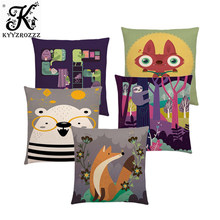 Colorful Cartoon Cute Animals Happy Life Lovely Bunny Tiger Unicorn Bear Fox Owl Sloth Fun Cushion Cover Sofa Throw Pillow Case(China)