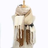 צבעי מיקס העיצוב החדש ארוך גדילים נשים צעיפים צמר סרוג גדילים צעיף צוואר ברדס גלישת צעיף לעבות החורף חם עבור נשים