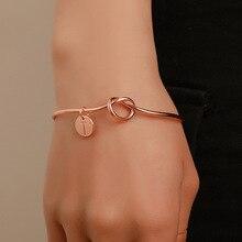 Мода 26 букв начальный сплав узел сердце Имя браслеты для женщин девушка Шарм круглые подвесные украшения лучшие подарки