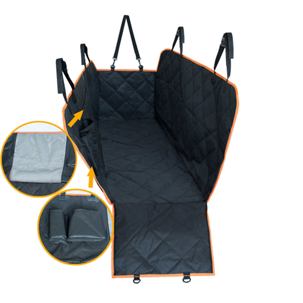 Waterproof quilting oxford dog car auto hammock seat covers with mesh window pet travel car seat