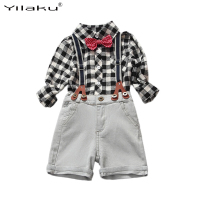 2017 Boys Summer Jeans Clothes Suits Children Plaid Shirt+Denim Overalls Set Boy Shorts Clothing Sets Kids 2pcs Outfits CF381