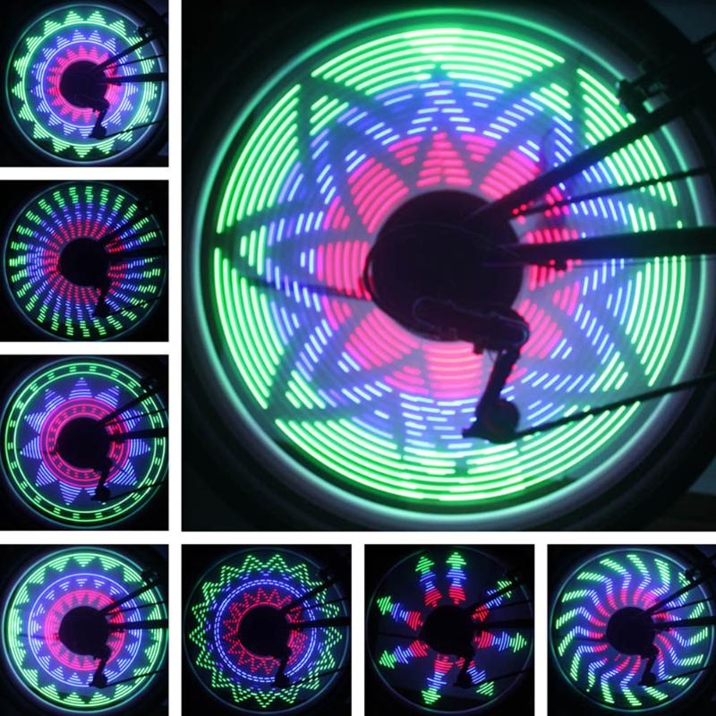 Bicycle Wheel Light 32 Patterns 36 LED Flash Valve Cap Light MTB Bike Spoke Tire Light Outdoor Cool Shining Colorful Lights new 4pcs led neon car bike wheel tire tyre valve dust cap spoke flash lights hot
