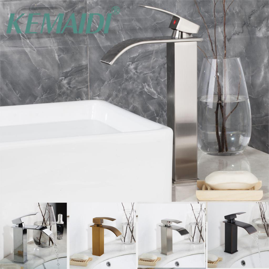 KEMAIDI Nickel Brushed Bathroom Basin Faucets Tap Mixer Black Waterfall Antique Brass Water Wash Basin Mixer Tap Faucet kemaidi 3 pcs antique brass