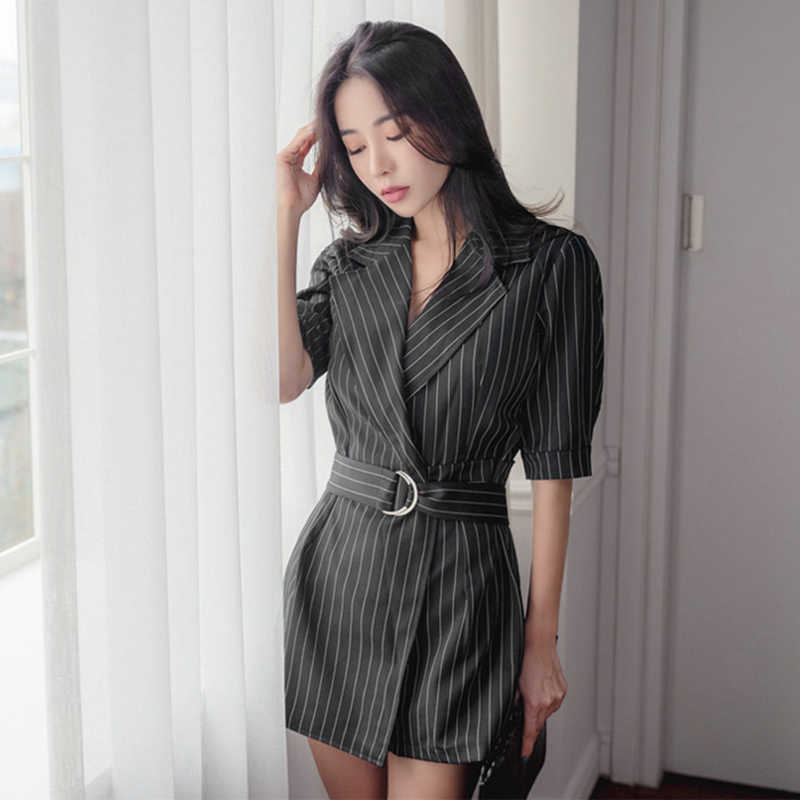 fd19eb86dbe Sexy Striped Sashes Short Jumpsuit Romper Women Notched Collar Sashes Half Sleeve  Overalls Summer Bodysuit Female