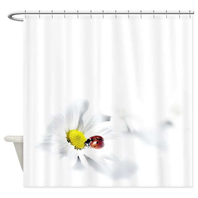Warm Tour Ladybug Daisy Shower Curtain Fabric Polyester Waterproof ...