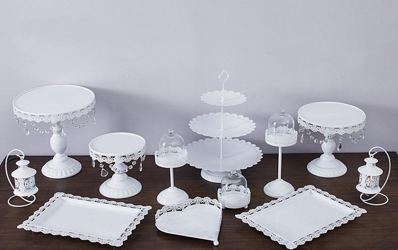 12pcs Set White Cake Stand Wedding Cupcake Stand Set Glass Dome