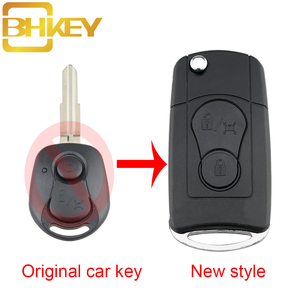 BHKEY 2Buttons Upgraded Flip Folding Remote Car key Case For SsangYong Actyon Kyron Rexton Key Shell Case Blank(China)