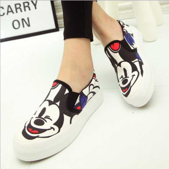 Spring Autumn New White Gray Color Women Canvas Shoes Mickey Cartoon Print Platform Shoes Woman Ladies Casual Flat Moccasins 2016 spring autumn europe china style new tide men canvas casual shoes blue black letters print sewing elastic band flat shoes
