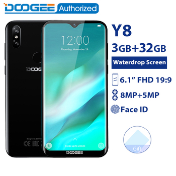 DOOGEE Y8 3GB 32GB Mobile Phone Android 9.0 6.1 FHD Waterdrop Screen 19:9 Full Display MTK6739 Quad Core 3400mAh 4G Smartphone  - buy with discount