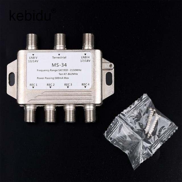 Kebidu 3 in 4 Out MS34EZ Satellite MultiSwitch Splitter FTA TV LNB Switch Cascade 3x4 satellite Multiswitch For DVB-S2 DVB-T2