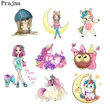 Prajna Cute Cartoon Unicorn Heat Transfers  Vinyl Ironing Stickers Applique Patches For Kids Clothes DIY Wholesale