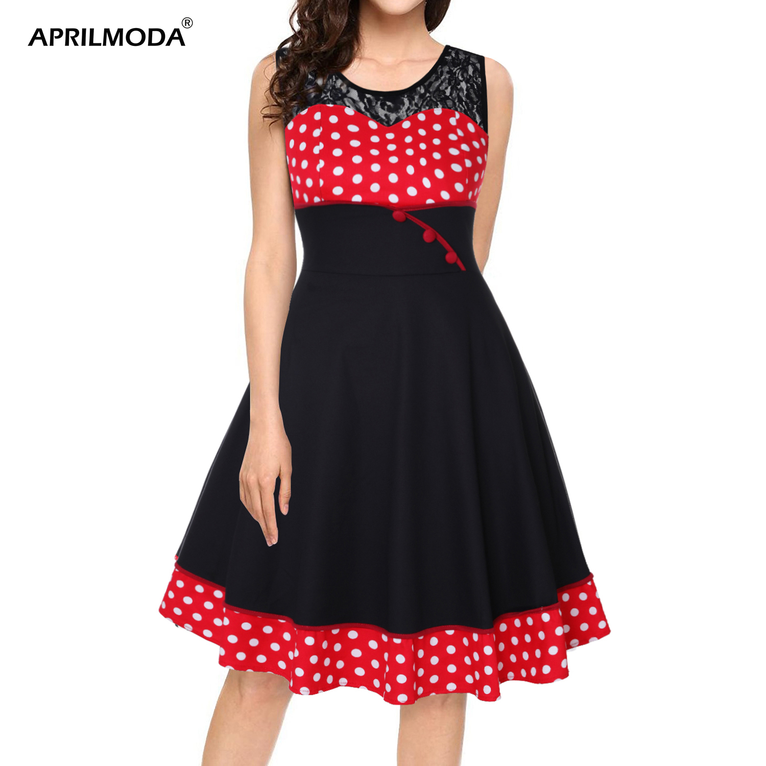 US $14.88 40% OFF|4XL Plus Size Hepburn 50s Dress Polka Dot Printed  Patchwork Lace Vintage Dresses Retro Swing Pin Up Vestidos 1960s Party  Dress-in ...