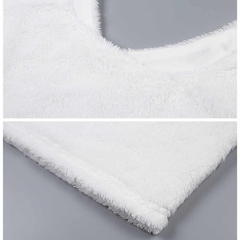aec34bf35999c8 ... BOOFEENAA Cute Sexy Fuzzy White Crop Top Cami Women Casual Tops Deep V  Neck Backless Fluffy