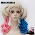 Movie Batman Suicide Squad Harleen Quinzel Harley Quinn Cosplay Wig Styled Curly Synthetic Ponytail Wig Heat Resistant Hair Wigs