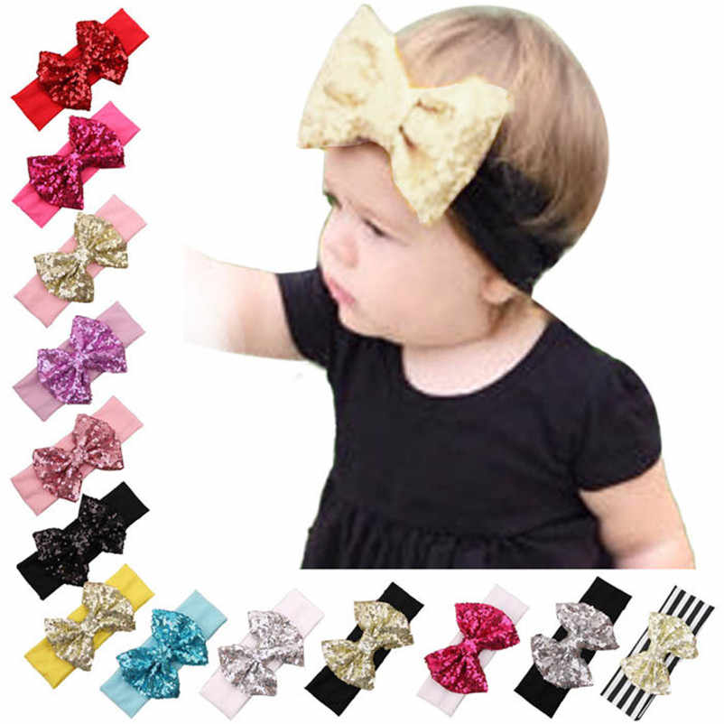 Hot Sale 2017 Fashion Hair Bands Kids Hair Accessories Elastic Children Headband Cute Sequins Bow Baby Girl Hair Knot Head Wraps