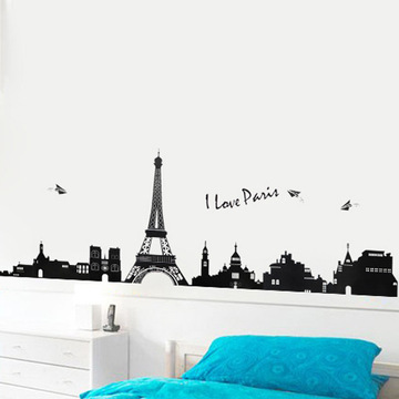 I LOVE PARIS Eiffel Tower DIY Removable Wall Stickers Parlor Kids Bedroom Home Decor House Decoration