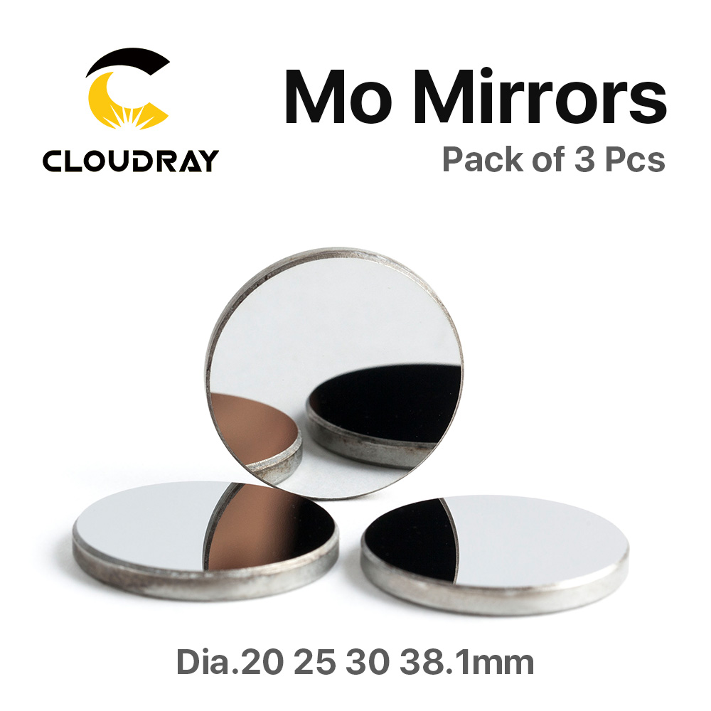 3 st Mo Mirror Diameter 15 19.05 20 25 30 38.1mm Tjocklek 3mm för CO2-laserskärgravmaskin