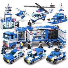 1115 шт. детские игрушки городская улица полицейский участок автомобиль грузовик строительные блоки кирпичи обучающие игрушки для детей подарок Рождество